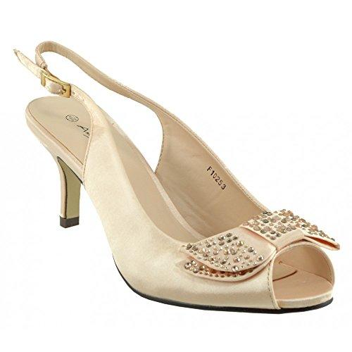 Kick Footwear - Donna Womens basso, tacco a stiletto raso scarpe da sposa scarpe festa Peach