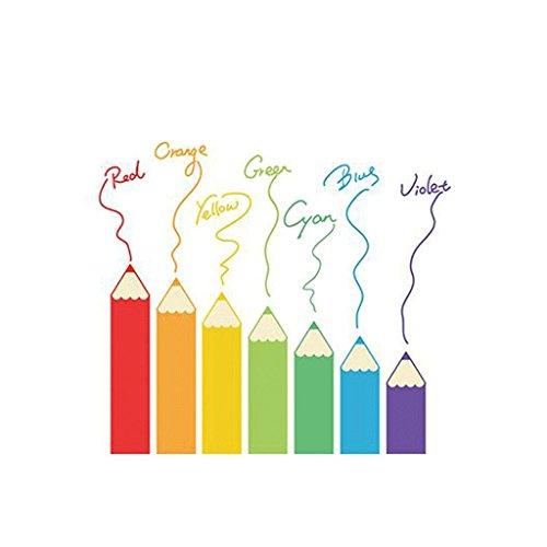 unte Pinsel Kinderzimmer Kindergarten Klassenzimmer Wand Wandaufkleber Nette Regenbogen Bleistift Wandaufkleber Mehrere Sets von Collage Effekt Besser ()