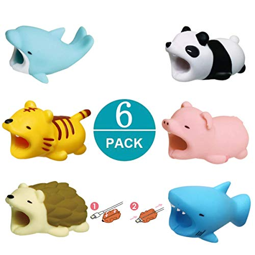 Newseego Kompatibel iPhone Kabel Schutz Ladegerät Saver Kabel Chevers Kabel Niedlich Tier Biss Kabel Zubehör Schützt - 6 Pack (Tiger, Panda, Hai, Schwein, Igel, Delfin) -