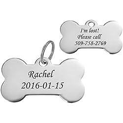 HooAMI Médaille Chien OS Identification Gravure Personnalisé Prénom Adresse Tel avec Service Gratuit de Gravure pour Chien