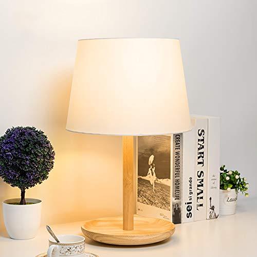 HECHEN Schlafzimmer tischlampe Moderne minimalistische kreative warme Wohnzimmer Holz dekorative nachttischlampe tc Tuch lampenschirm + Gummi Holz lampenkörper,White