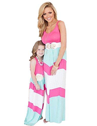 Tomsent 2017 Damen Mütter Tochter Familie Sommerkleid Rundhals Ärmellose Kleider Streifen Stitching Weste MaxiKleid Rosa 130 (Mädchen) (Für Lace Crochet Kleider Frauen)