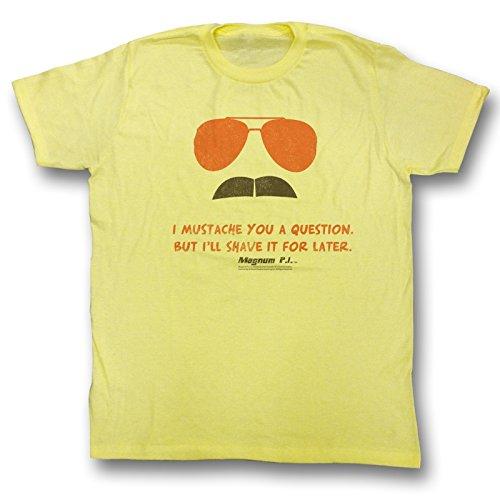 Magnum P.I.-Maglietta da uomo con baffi, colore: giallo Yellow Heather Large