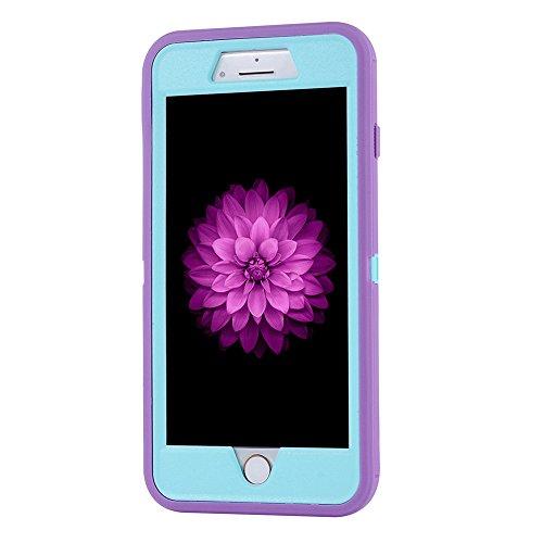 """MOONCASE iPhone 7 Plus Coque, Durable Anti-dérapante Anti-choc Protection Housse Ultra Hybrid Flexible Silicone Defender Etui Case pour iPhone 7 Plus 5.5"""" Violet Violet"""