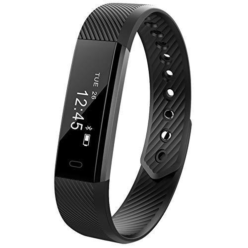 WANGLAI Smart Bracelet-Bluetooth Armband mit Sleep Monitor Gesundheit Fitness Tracker Schrittzähler Smart Watch (mit Herzfrequenz Monitor), Schwarz, 240 x 16 x 10 mm