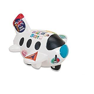 Weiße Spardose in Flugzeug-Form   Sparbüchse perfekt als Reisekasse geeignet   Urlaubsflieger mit bunten Urlaubsstickern   abschließbares Sparschwein mit Schlüssel & Schloss   Tolle Geschenk-Idee
