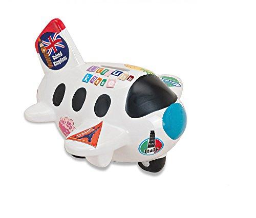 Preisvergleich Produktbild Weiße Spardose in Flugzeug-Form | Sparbüchse perfekt als Reisekasse geeignet | Urlaubsflieger mit bunten Urlaubsstickern | abschließbares Sparschwein mit Schlüssel & Schloss | Tolle Geschenk-Idee