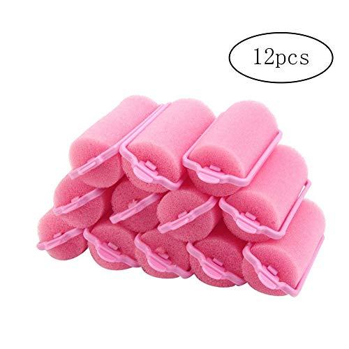 12 Stück Schwamm Lockenwickler Foam weich rund Sponge Ball Lockenwickler Haar-Rollen-Brötchen-Werkzeug Lockenwickler Kugel zufällige Farbe