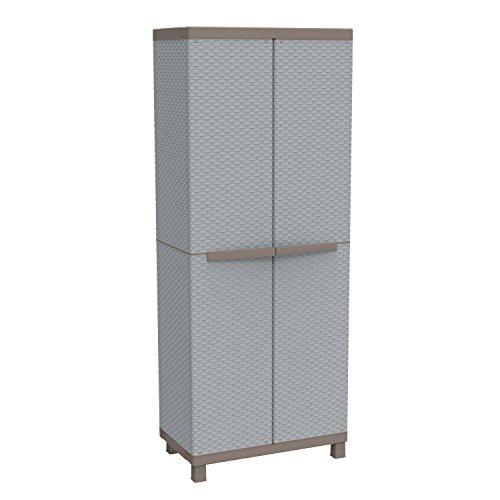 #Terry Jumbo Hochschrank aus Kunststoff, Besenschrank, grau/taupe, 68x 39x 170cm, 3680#