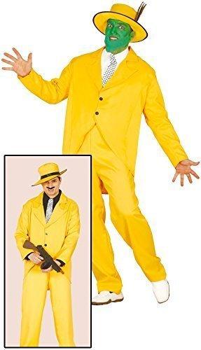 Herren Gelb 1920s Gangster Die Maske Halloween Kostüm Kleid Outfit Größe (1920 Herren Outfits Für)