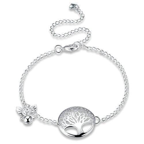 Daesar Fusskette Versilbert Damen Baum des Lebens Silber Fußkette Nickelfrei Orientalisch