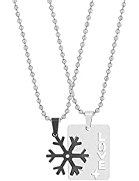 The Jewelbox Love Wheel Black Silver 316L Surgical Stainless Steel Gift Pendant Chain Couple Unisex
