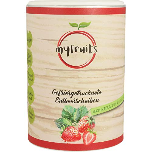 myfruits® Erdbeerscheiben - gefriergetrocknet - ohne Zusätze, zu 100% aus Erdbeeren, gesunde Zutat für Müsli oder Porridge (1er Pack)