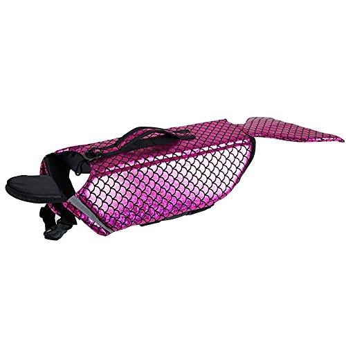 CHANG Hund Schwimmen Schwimmweste, Meerjungfrau Shaped Pet Badeanzug Set, Medium Puppy Sicherheitsweste Kleidung,Pink,M (Chihuahua Badeanzug)
