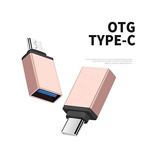 happyhouse009 Universal Typ C auf USB Adapter OTG Konverter Kopf Micro USB Host OTG Kabel, USB OTG Kabel Adapter Stecker auf USB Buchse Adapter für Handy Tastatur Maus, Kupfer, Golden - Weiblich-tastatur-maus