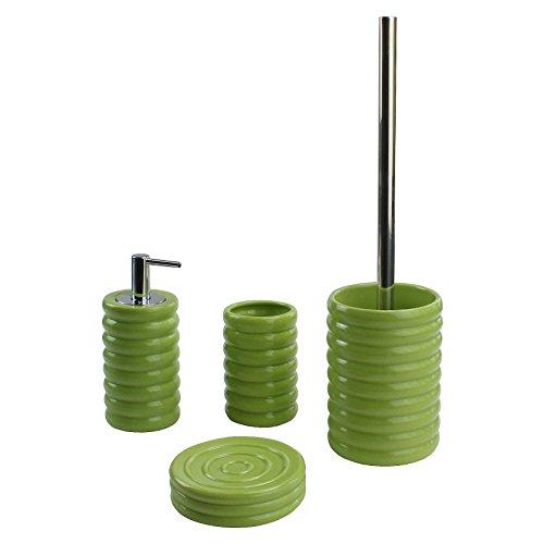Unbekannt KLEINE Wolke Bad-Set 4 teilig Keramik | Grün | Toilettenbürste, Seifenspender, Zahnbürstenhalter & Seifen-Schale