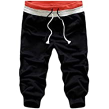 Zimaes-Men Men's High Waist Hit Color Cropped Drawstring Active Causal Short Pant L