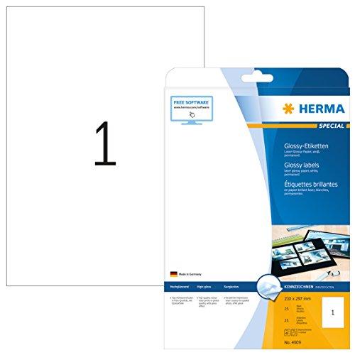 Herma 4909 Glossy Etiketten glänzend (Format DIN A4 210 x 297 mm) weiß, 25 Aufkleber, 25 Blatt Laser-Glossy-Papier, bedruckbar, selbstklebend