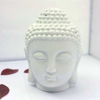 WHITE Ceramic Buddha Head Fragrance Oil Warmer Lamp (6 INCHES ),fragrance DifFuser