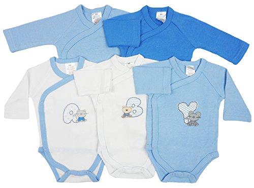 *5er Pack Baby Jungen Bodys Wickelbodys Langarm Baumwolle ABY Gr. 56 (1M)*
