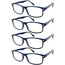 TBOC® Gafas de Lectura Presbicia Vista Cansada - (Pack 4 Unidades) Graduadas +2.50 Dioptrías Montura de Pasta Azul Diseño Moda Hombre Mujer Unisex Lentes de Aumento para Leer Ver de Cerca Patillas con Bisagras de Resorte