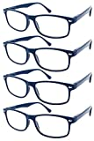 TBOC® Occhiali da Vista Lettura Presbiopia - (Pack 4 Unità) Graduati +1.50 Diottrie Montatura Blu Fashion Leggeri Quadrati da Vicino per Computer Donna Uomo Unisex Aste con Cerniere con Molla