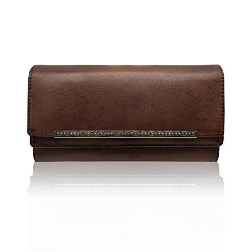 LETEULO Damen Geldbörsen Echtleder Clutch Handtasche Weich Grosse Kapazität Kaffee (Hohe Licht Kapazität)