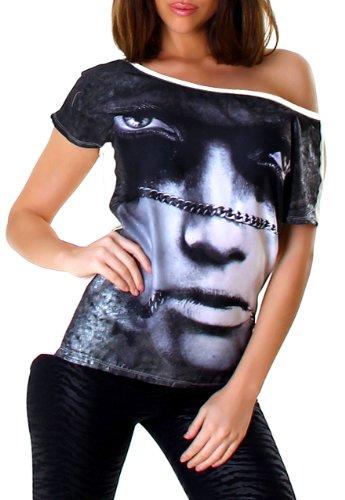 Lmode Damen Longshirt mit Print & Rundhalsausschnitt Einheitsgröße (34-40), schwarz weiß (Mini Tank Top Print)