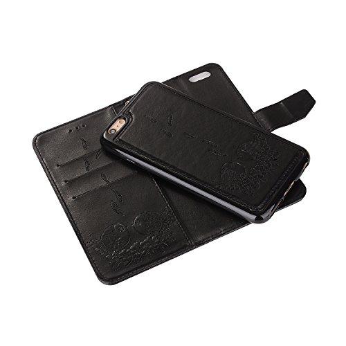 iPhone 6 Plus/6S Plus Coque, Voguecase Etui pratique et original en cuir synthétique, avec fermeture à aimant, housse de protection interne silicon antichoc de qualité avec coque en internal silicone  Couple d'oiseaux-Noir