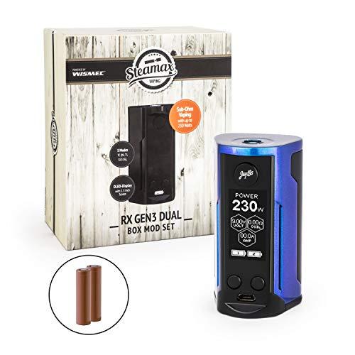 Wismec/Steamax RX Gen3 Dual Akkuträger 230 Watt + 2 x 3000 mAh Akku Mod-Box-Set E-Zigarette E-Shisha (dieses Produkt enthält kein Nikotin) (blau-lila)