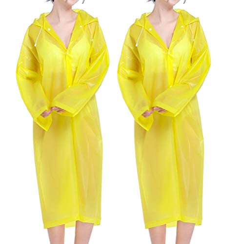 Fenical 2 Stück Wiederverwendbare Regenmäntel Eva Regenhaube Ponchos für Erwachsene Männer Frauen -