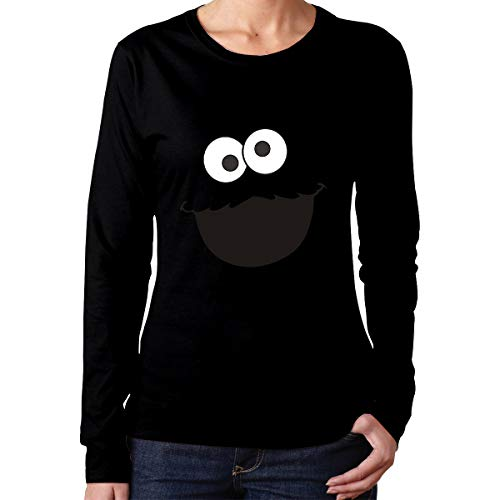 Sesame Street Cookie Monster Face Women's Long Sleeve T-Shirts