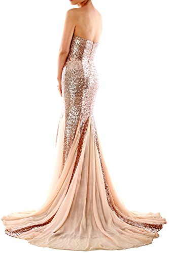 MACloth Mermaid Long Prom Ball Gown Strapless Sequin Evening Formal Dress Royal Blue