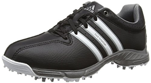adidas 360 Traxion, Unisex-Kinder Golfschuhe, Schwarz (Core Black/White/Iron Met), Gr. 38 EU (5 UK) (Jr Golf Clubs)