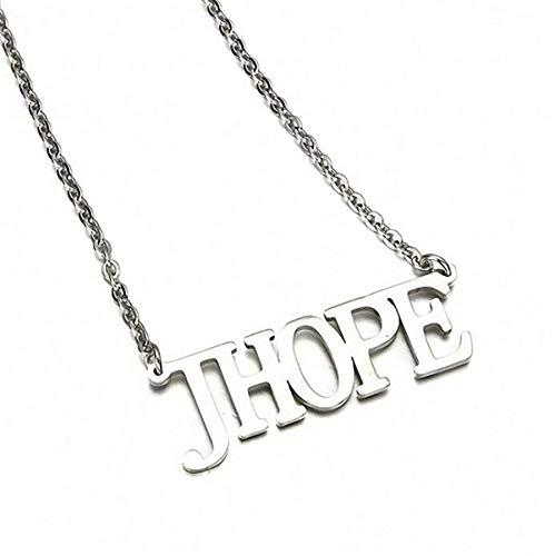 SIMYJOY Collar de Plata Letra Colgante para Fanáticos de BTS Cadena de Clavícula Buen Regalo para Fanáticos BTS jhope