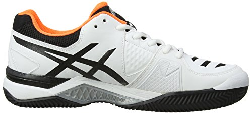 Asics Gel-challenger 10 Clay, Chaussures de Tennis Homme Blanc (White/Onyx/Flash Orange 199)