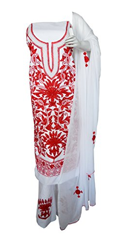 eco haat Hand Crafted vibrant Traditional unstitched Red &White Salwar Suit Dress...