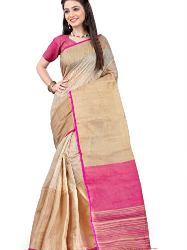 Fabattic Women's Linen Silk Saree With Blouse Piece (Chi51_Beige)
