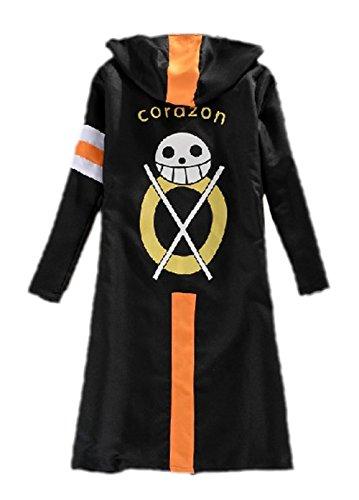 Cosplay Trafalgar Law Hooded T Mantel Kleidung Anime Halloween Kostüm schwarz schwarz M (Trafalgar Law Kostüm)