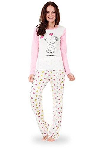 Snoopy Snoopy-Schlafanzug für Damen mit langen Ärmeln Mickey Minnie Mouse Pyjama für Damen Nachtwäsche Rosa- Amour Les Coeurs