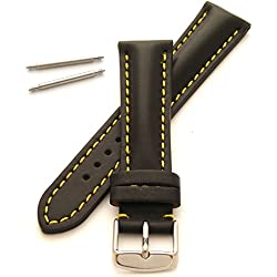 22mm Leather Watch Strap - Heavy Padded with Yellow Stitching and Buckle - New Spring Bars Supplied