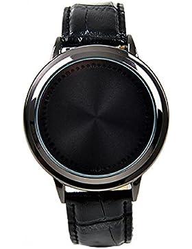 Unisex Touch Screen Design Blinkender LED Leder Band Sportuhr Armbanduhr Schwarz