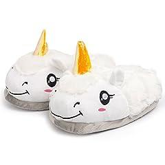 Idea Regalo - Katara 1695 Pantofole Unicorno Adulti Donna Uomo Taglia Unica 36-44 Ciabatte da Casa Invernali Peluche, Bianco Chiuse
