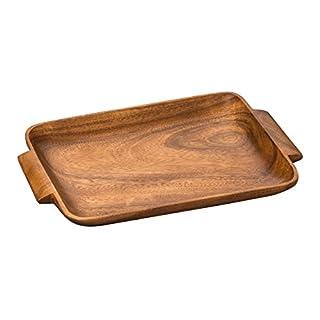 Premier Housewares Acacia Wood Socorro Serving Tray with Handles - Brown
