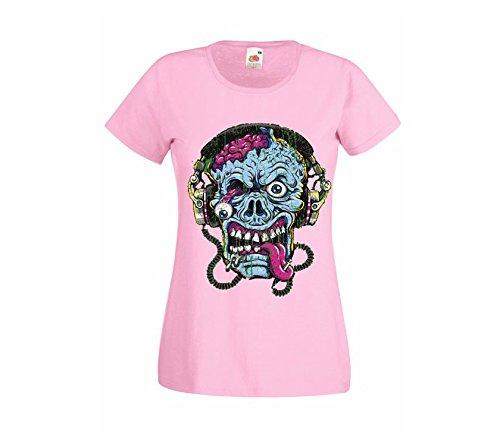 Camiseta rosa transfer Calavera zombi con auriculares-[Talla:L]