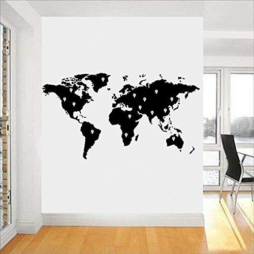 haotong11 Vinilo Tatuajes de Pared Mapa del Mundo Pegatinas de Pared Tierra Atlas Shiluette Arte Decoración Etiqueta Extraíble DIY Home Mural51 * 28 cm