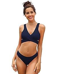 SHEKINI Damen Einzigartig Bikini Set Monochrom Geteilter Badeanzug Mit Quer  Brustgurt Weste Bikini Oberteil Und… 5bb81e01f6