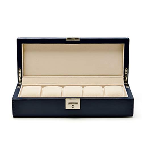 RKY Schaukasten Watch Box - Uhr Taschenuhr Display Box Schmuck Armband Box Aufbewahrungsbox PU Leder 4 Hand mit Schloss Schmuck Aufbewahrungsbox /-/ (Farbe : A)