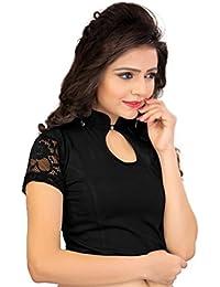 Fressia Fabrics Women's Cotton Black Saree Blouse Readymade For Women Free Size