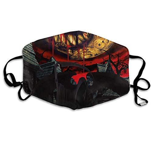 Daawqee Staubschutzmasken, Halloween Bloody Moon Anti Dust Face Mouth Cover Mask Respirator - Dustproof Anti-Bacterial Washable - Reusable Masks Respirator Windproof ()